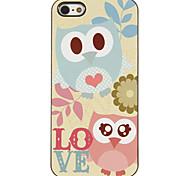 Azul y rosa Lovely Owls Patrón Hard Case PC con 3 Almuerzos Protectores HD de pantalla para iPhone 5/5S