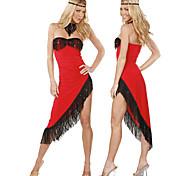 Ballerino sexy senza spalline asimmetriche nappe vestito rosso Tango Danza Costume