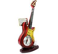 """8.66 """"H Red guitarra Forma Relógio Despertador com Luz"""