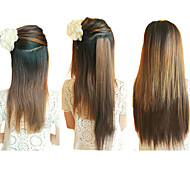 20 Inch Clip in Synthetic Light Brown Straight Hair Extensions with 2 Clips