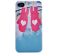 Herz-Handschuhe auf dem Zweig und Blue Sky Muster Transparent Frame zurück Fall für iPhone 4/4S