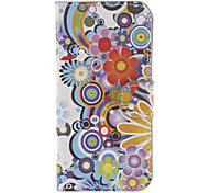 Colorful Circles and Flowers Pattern PU Full Body Case with Stand and Card Slot for iPhone 5C