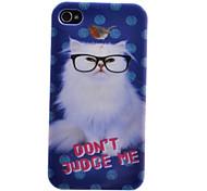Schöne weiße Katze tragen Glas-Muster Transparent Frame zurück Fall für iPhone 4/4S