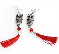 Silver Owl Red Fabric Tassel Drop Earrings(Random Color)