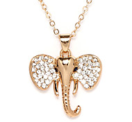 Golden Crystal Elephant Pendant Necklace