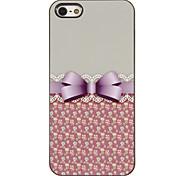Bowknot elegante com Lace Padrão Hard Case PC com 3 Pacotes de protetores de tela para iPhone HD 5/5S