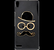 Fashion Rhinestones 3D Deluxe Hat Glasses Moustache Design Transparent Hard Back Case for Huawei P6