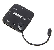 OTG USB Hub and Menory Card Reader (Black)