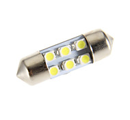Festoon 6-LED 6000K Cool White Light Bulb LED para carro (12V)