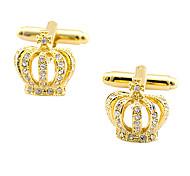 real do ouro coroa banhada a ouro e abotoaduras de cristal (1par)