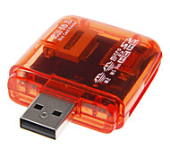 Mini USB 2.0 Memory Card Reader (Red/Pink/Orange/Blue)
