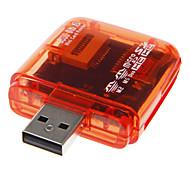 Mini USB 2.0 leitor de cartão de memória (vermelho / rosa / laranja / azul)