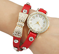 Women's Crystal Bowknot Decor Leather Band Quartz Analog Bracelet Watch (Assorted Colors)