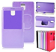 PU Leather Case Stand Cover met S Bekijk Venster voor Samsung Galaxy Note N9000 3