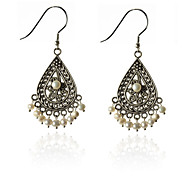 European Style Retro Water Drop Pearl Hollow Out Earrings