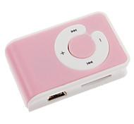 Tarjeta TF MP3 Player con lector de Bolsa Clip Rosa y Blanco