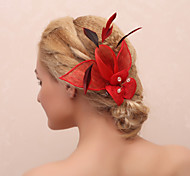Graceful Flower With Feather Women'S Barrette