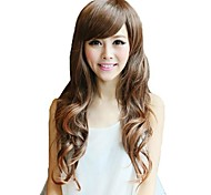 Capless Long Wavy Light Brown Synthetic Side Bang Wigs 3 Colors Available