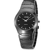 Unisex Round Dial Black Tungsten Steel Band Quartz Analog Wrist Watch