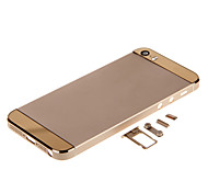 Champagene Hard Metal Alloy Back Battery Housing with Buttons and Gold Glass For iPhone 5s