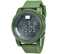 Men's Round LCD Digital Rubber Band Running Hiking Wrist Watch (Assorted Colors)