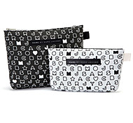 2PCS Black & White modello lettera Valigetta forma di addensare Make up / Cosmetici Bag Set Cosmetics bagagli