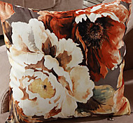 Retro Oriental Ink Painting Style Orange Blossoms Decorative Pillow With Insert