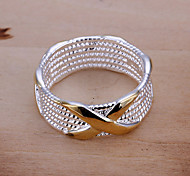 Euramerican Women Silver Silver-Plated Round Finger Ring (Gold)(1Pcs)