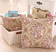 "16"" Square Floral European Beige Pillow With Insert"
