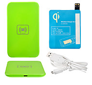 Green Wireless Power Charger Pad + USB Cable + Receiver Paster(Blue) for Samsung Galaxy S4 I9500