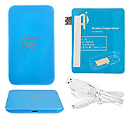 Azul Wireless Power Charger Pad + Cabo USB + Receptor Paster (azul) para Samsung Galaxy S3 I9300