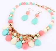 Fashion  Resin (Necklaces&Earrings)  Jewelry Sets(multi-colur,pink,blue,black)