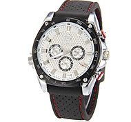 Men's Auto Mechanical 3 Sub dials Rubber Band Wrist Watch (Assorted Colors)