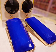 Fashion Korea-Style Drop Earring With Gemstore(1 Pair)(Blue,Black,Red