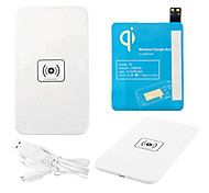 White Wireless Power Charger Pad + USB Cable + Receiver Paster(Blue) for Samsung Galaxy S4 I9500