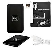 Wireless Power Pad Negro Cargador + Cable USB + receptor Paster (Negro) para Samsung Galaxy Nota 2 N7100