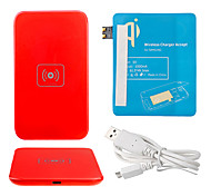 Red Wireless Power Charger Pad + USB Cable + Receiver Paster(Blue) for Samsung Galaxy S3 I9300