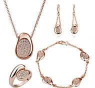 Rosa de 18 quilates aretes collar de anillos pulsera de oro chapado establecidos