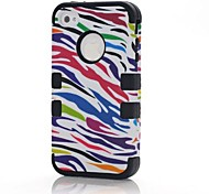 3 in 1 7 Farb Zebra-Stil PC und Sillcone Composite-Full Body für iPhone 4/4S (verschiedene Farben)