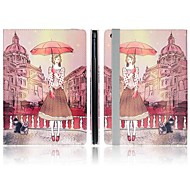 ENKAY Umbrella and Girl Pattern Protective PU Leather Smart Case with Stand for iPad Air