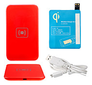 Red Wireless Power Charger Pad + USB Cable + Receiver Paster(Blue) for Samsung Galaxy S4 I9500