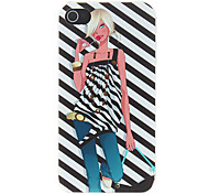 Hot Girl with Zebra Background Pattern Matte Designed PC Hard Case for iPhone 4/4S