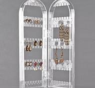 Affichage 120 trous 2 arches transparente bijoux en plastique pour boucles d'oreilles