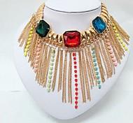 Mode multicolor Harz mit Quaste Halsband Halskette für Frauen