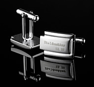 Personalized Gift Irregular Silver Engraved Cufflinks