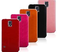 Caller ID S Venster Opvouwbaar Flip Stand Leather Case voor Samsung Galaxy I9600 S5