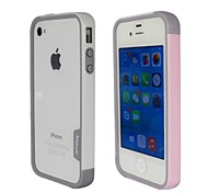 Fashion Double Color TPU Frame Bumper for iPhone4S(Pink+White)