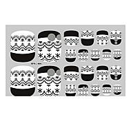 22PCS Black Lace Punk Toenail Art Sticker XJ Sery No.47