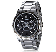 Men's Chronograph Classic Round Dial Steel Band Quartz Analog Wrist Watch
