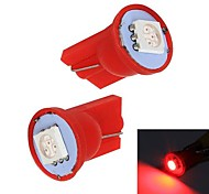 Merdia 1W 60LM 1x5050SMD T10 LED Red Light Car Instrument / Bremslicht-Birnen (Pair/12V)